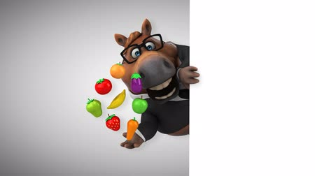 intelecto : Cartoon horse with spectacles holding a variety of fruits and vegetables