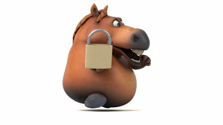 cadeado : Cartoon horse running with a padlock Stock Footage