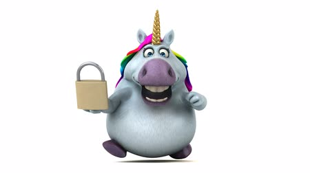 мифический : Cartoon unicorn running with a padlock