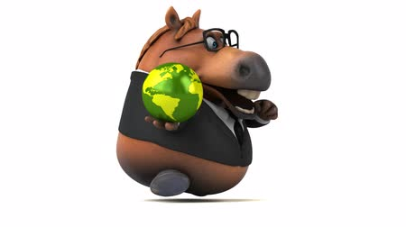 visão global : Cartoon horse with spectacles running with a globe