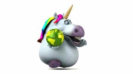 мифический : Cartoon unicorn running with a globe Стоковые видеозаписи