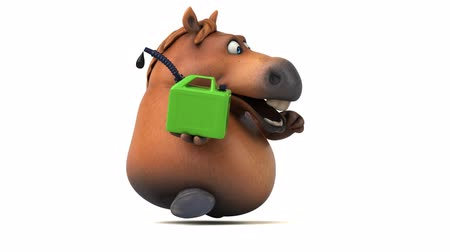çiftlik hayvan : Cartoon horse running with a jerry can Stok Video