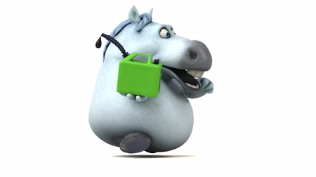 motorová nafta : Cartoon horse running with a jerry can Dostupné videozáznamy