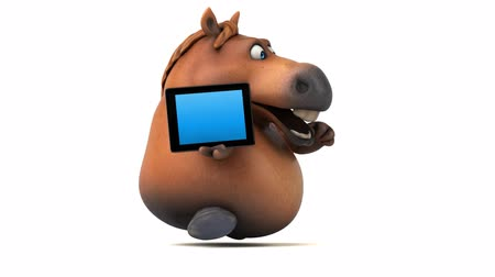 конный : Cartoon horse running with a digital tablet Стоковые видеозаписи