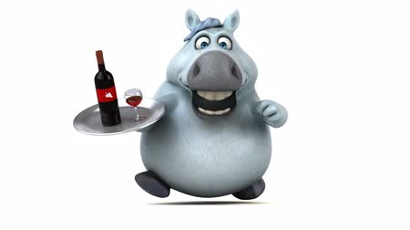 повод : Cartoon horse running with a tray of wine bottle and glass