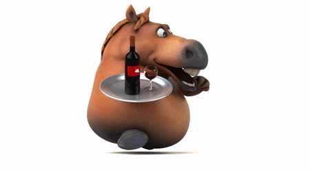 koń : Cartoon horse running with a tray of wine bottle and glass