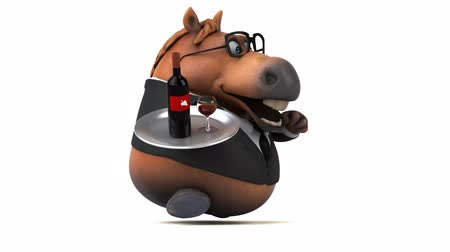 koń : Cartoon horse with spectacles running with a tray of wine bottle and glass