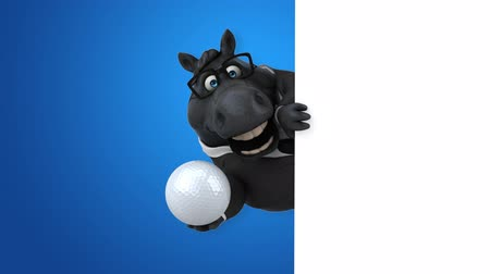 equestre : Cartoon horse with spectacles holding a golf ball