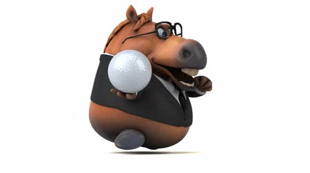 неровной : Cartoon horse with spectacles running with a golf ball