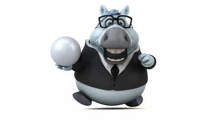 equino : Cartoon horse with spectacles running with a golf ball