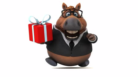 конный : Cartoon horse in a suit with a gift box