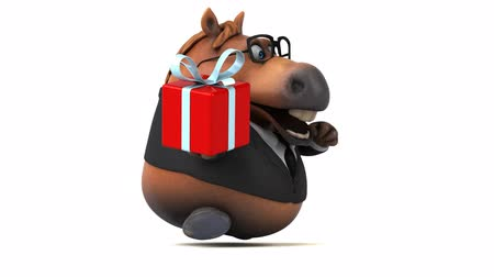 equestre : Cartoon horse in a suit with a gift box
