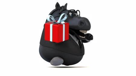 entellektüel : Cartoon horse in a suit with a gift box