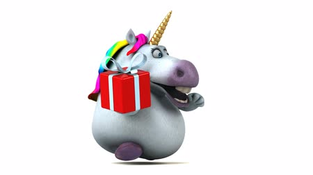 мифический : Cartoon unicorn with a gift box