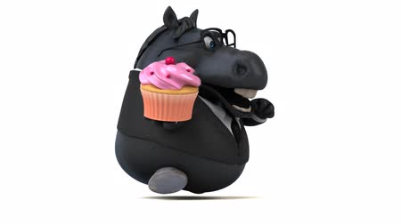 entellektüel : Cartoon horse in a suit with a cupcake