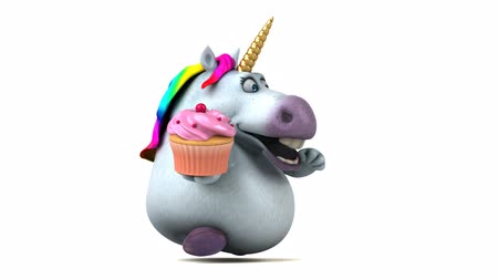 мифический : Cartoon unicorn with a cupcake Стоковые видеозаписи