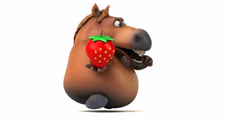 equestre : Cartoon horse with a strawberry