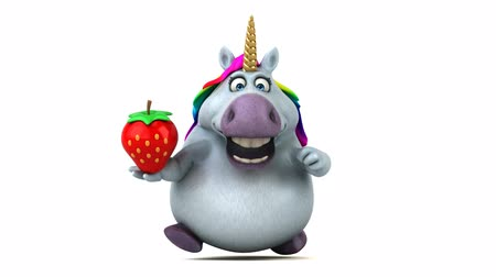mitolojik : Cartoon unicorn with a strawberry