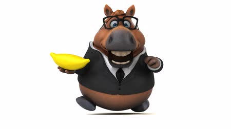 koňský : Cartoon horse in a suit with a banana
