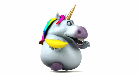 мифический : Cartoon unicorn with a banana