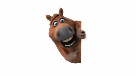 koňský : Cartoon horse pointing and hide