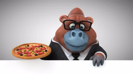 cheese slice : Cartoon orangutan holding a pizza