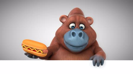 worsten : Cartoon orang-oetan met een hotdog Stockvideo