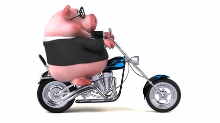 kruvazör : Cartoon pig riding on a motorbike and showing thumbs up gesture