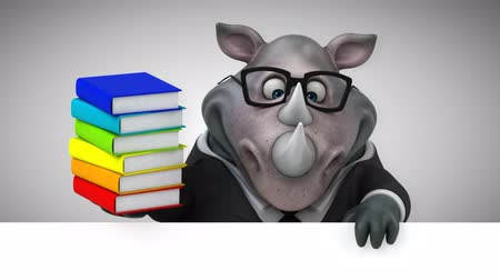 rinoceronte : Cartoon rhino holding a stack of books Stock Footage