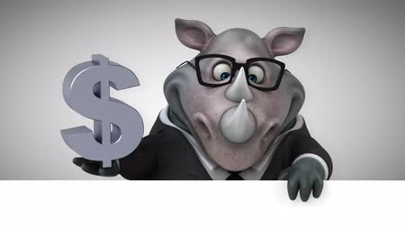rinoceronte : Cartoon rhino holding Dollar currency symbol Stock Footage