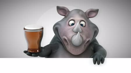 rinoceronte : Cartoon rhino holding a glass of beer