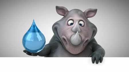 rinoceronte : Cartoon rhino holding a water droplet Stock Footage