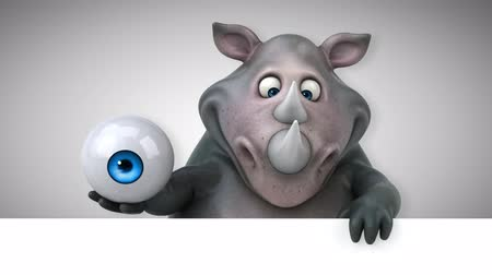 nosorožec : Cartoon rhino holding an eyeball