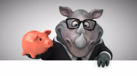 piggy bank : Cartoon rhino holding a piggy bank Stock Footage