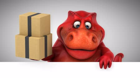 dino : Cartoon dinosaur holding a stack of boxes