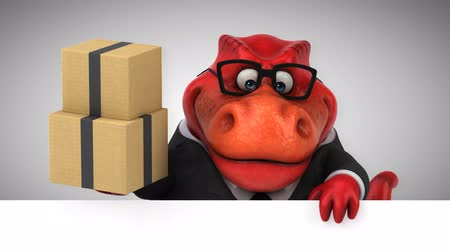 dinosaur : Cartoon dinosaur holding a stack of boxes