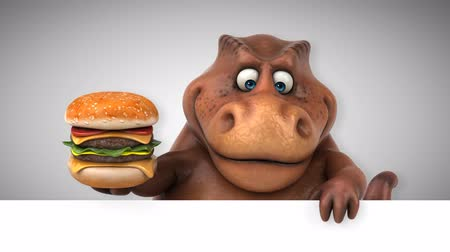 extinto : Cartoon dinosaur holding a hamburger Stock Footage