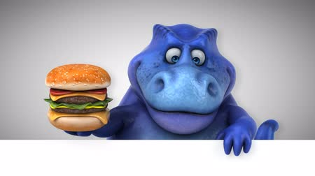 dino : Cartoon dinosaur holding a hamburger Stock Footage