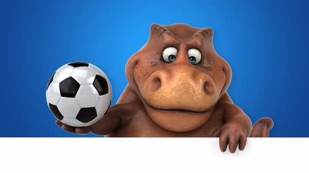 dino : Cartoon dinosaur holding a soccer ball