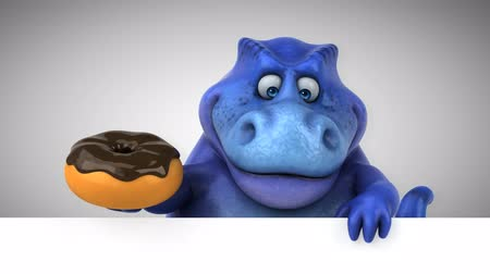 dino : Cartoon dinosaur holding a donut