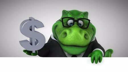 dinosaurus : Cartoon dinosaur holding Dollar currenty symbol