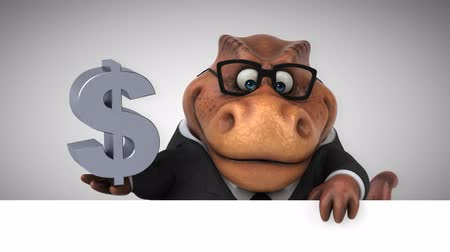 extinto : Cartoon dinosaur holding Dollar currenty symbol