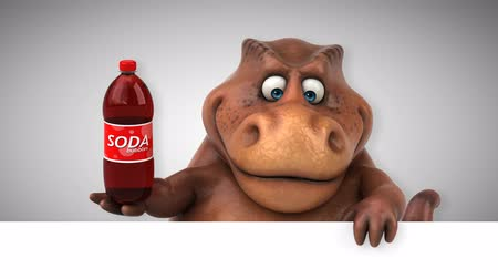 dinosaur : Cartoon dinosaur holding a bottle of soda Stock Footage