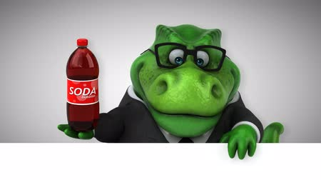 ilkel : Cartoon dinosaur holding a bottle of soda Stok Video