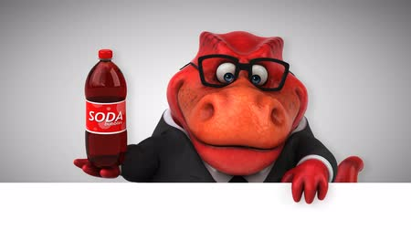intelecto : Cartoon dinosaur holding a bottle of soda Stock Footage
