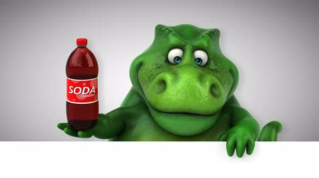 extinto : Cartoon dinosaur holding a bottle of soda Stock Footage