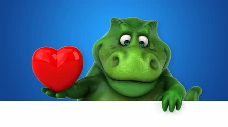 dinosaurus : Cartoon dinosaur holding a heart