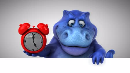 extinto : Cartoon dinosaur holding an alarm clock
