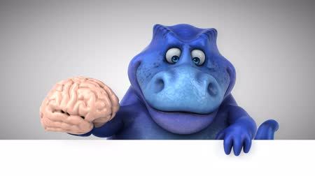 extinto : Cartoon dinosaur holding a brain