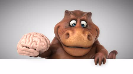 intelecto : Cartoon dinosaur holding a brain